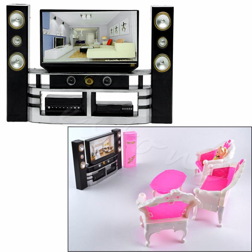 [해외]귀여운 아이 인형 집 가구 부속품 TV 극장 세트 복장 K4UE/Cute Kid Dollhouse Furniture Accessories TV Theatre Set Outfit K4UE