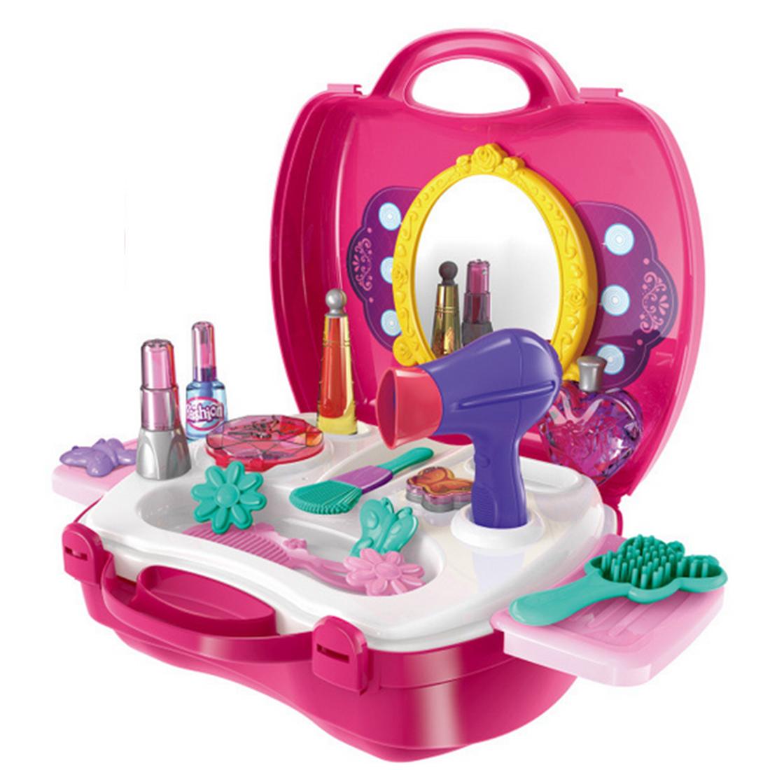 [해외]Surwish Kitchen 척 & amp; 놀이 ABS 화장품 케이스 시뮬레이션 메이크업 도구 키트 스토리지 박스 - 레드/Surwish Kitchen Pretend & Play ABS Cosmetic Case Simulation Makeup T