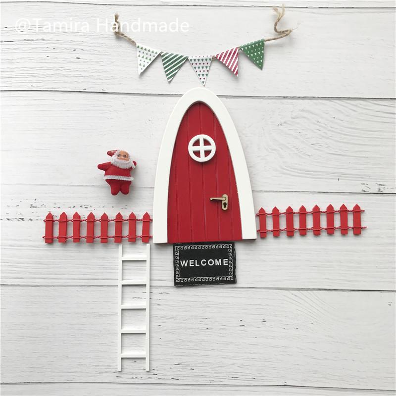 [해외]손으로 만든 레드 아치 요정 문 아이를훌륭한 선물 미니어처 크리스마스 ELF 치아 요정 문 먼지 환영 매트 피트 프린터 설정/Hand Made Red Arch Fairy door great gift for Kid miniature Christmas ELF too