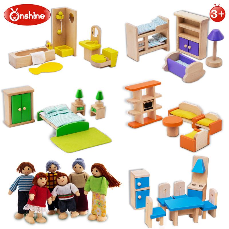 [해외]Onshine 시뮬레이션 객실 가구 장난감 나무 인형 욕실 침실 가족 인형 어린이 놀이 장난감 교육 장난감 선물/Onshine Simulation Room Furniture Toys Wooden Doll Bathroom Bedroom Family Doll Chi