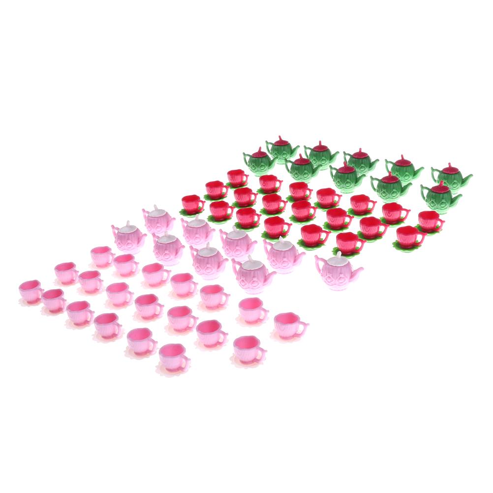 [해외]10 세트 클래식 인형 장난감 1/12 플라스틱 분홍색 차 Pot2 컵 식기 장난감 주방 액세서리 인형 집 미니어처/10 Sets Classic Doll Toy 1/12 Plastic Pink Tea Pot2 Cups Tableware Toys Kitchen A