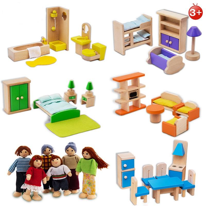 [해외]인형 집에 대 한 목조 가구 인형 집에 대 한 미니어처 1시 12 분 인형 놀이 척 장난감 교육 장난감 인형 가구/Wooden Furniture For Dolls House Dollhouse Miniature 1:12 Dolls For Kids Play Pret