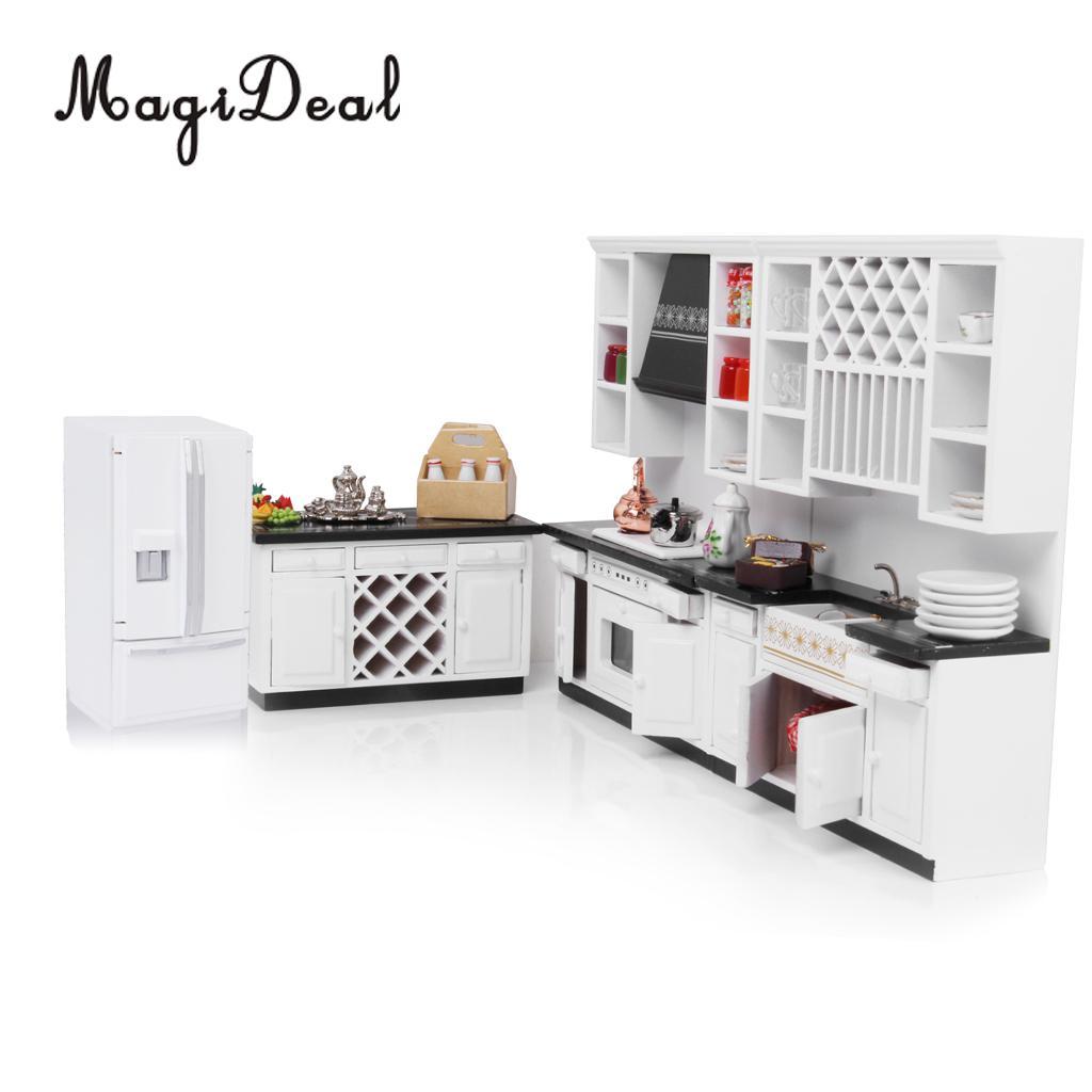 [해외]MagiDeal 1/12 나무 인형 집 부엌 홈 Acce 어린이 미니어처 가구 냉장고 냉장고 플레이 귀여운 장난감 척/MagiDeal 1/12 Wood Dollhouse Miniature Furniture Fridge Refrigerator for Kitchen