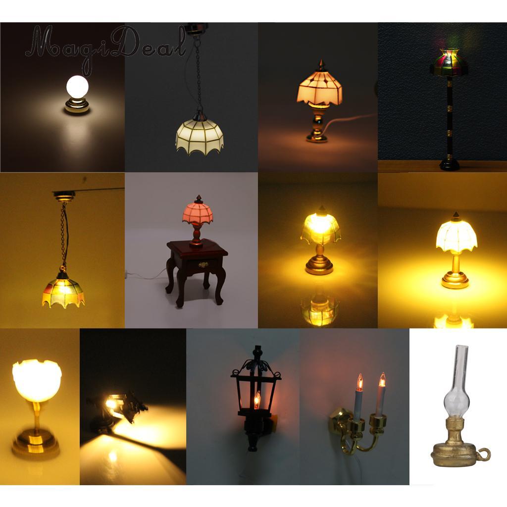 [해외]MagiDeal 1/12 Dollhouse 소형 볼 모양 테이블 램프 Livingroom 침실을LED 빛 부엌 키즈는 놀이 장난감을 가장합니다/MagiDeal 1/12 Dollhouse Miniature Ball Shape Table Lamp LED Light