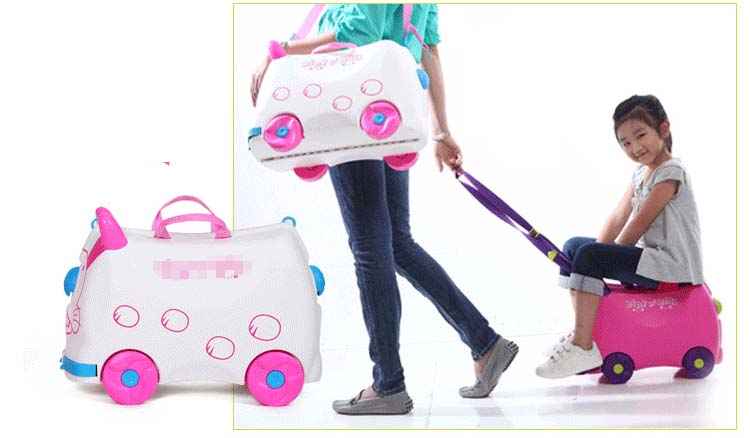 [해외]패션 크리 에이 티브 창고 사물함 소년 소녀 아기 자동차 장난감 상자 수하물 가방 당겨 막대 상자 타고 앉을 수  확인란 어린이 휴가 선물/fashion creative locker boy girl baby cars Toy box luggage suitcase