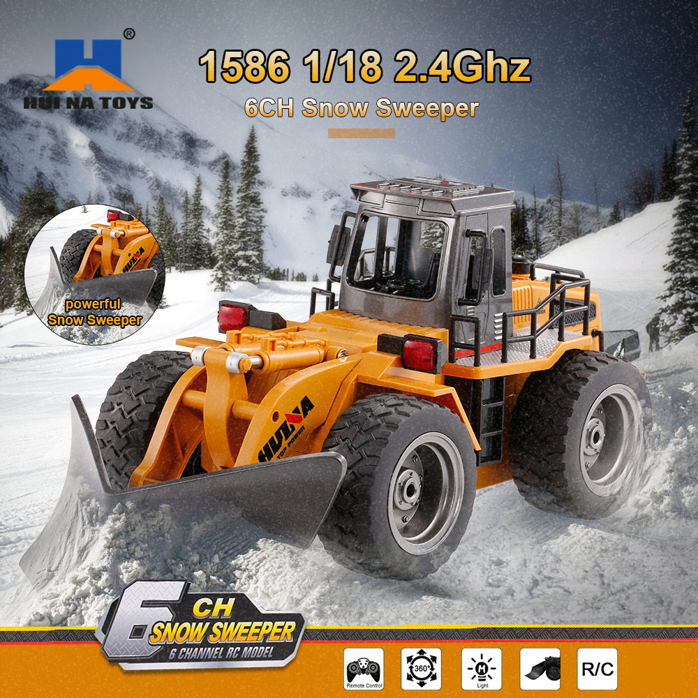 [해외]HUI NA 장난감 1586 RC 차 1:18 2.4Ghz 6CH 스노우 스위퍼 삽차 공학 자동차 어린이 완구 생일 크리스마스 선물/HUI NA TOYS 1586 RC Car 1:18 2.4Ghz 6CH Snow Sweeper Shovels Engineering