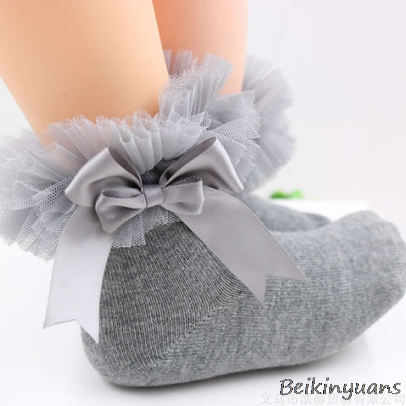 [해외]Children`s creative lace side socks comfortable princess children`s lace combed cotton socks bow girl/Children`s creative lace side socks comforta