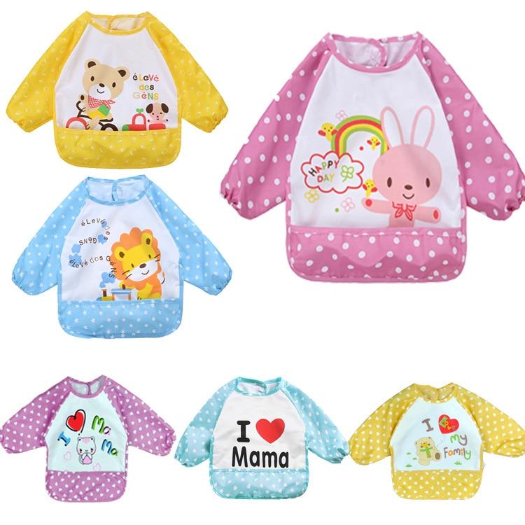 [해외] 200pcs Child Feedinga Pocket Cartoon Bib Waterproof Long Sleeve Apron Smock Burp Clothes Eat Toddler Clothing/ 200pcs Child Feedinga Pocket Carto