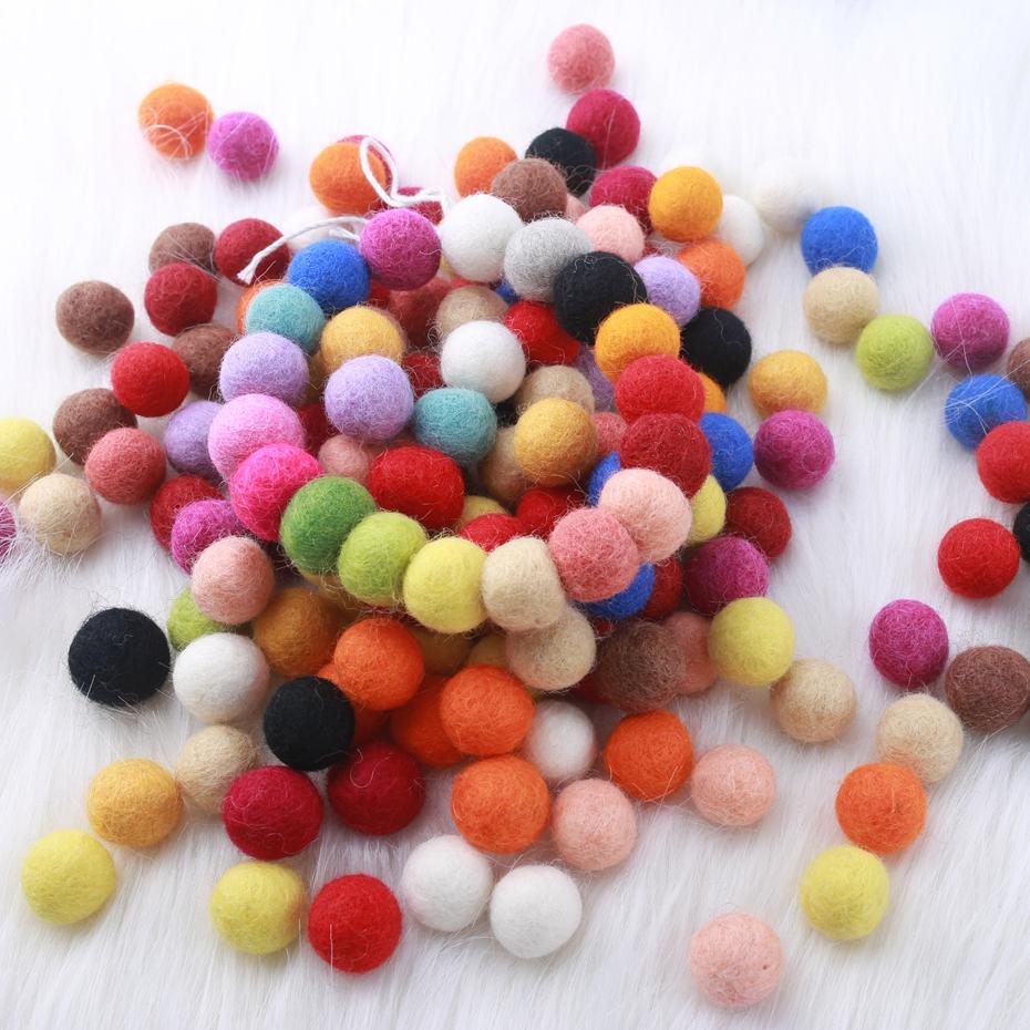 [해외]펠트 공 2 cm 20mm (7/8 inch) 500 조각 양모 펠트 pom poms chunky 무작위 색깔 bubblegum 구슬 혼합 색깔 반지 딸랑이를 만드십시오