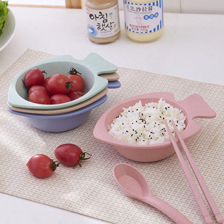 만화 크리 에이 티브 토끼 그릇 밀 짚 아이 안티 물집 파일 드롭 귀여운 식기 전자 레인지 사용할 수
