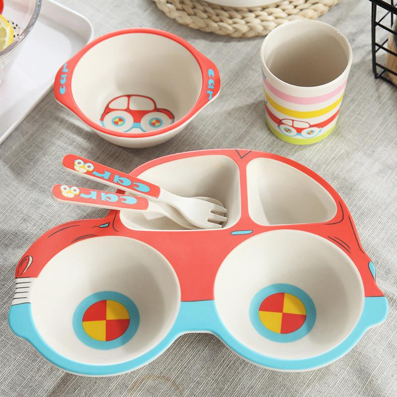 [해외]어린이 식기-(5 피스 세트) 자동차 대나무 섬유 만화 compartmental 플레이트 귀여운 어린이 쌀 그릇 스푼 포크 컵/어린이 식기-(5 피스 세트) 자동차 대나무 섬유 만화 compartmental 플레이트 귀여운 어린이 쌀 그릇 스푼