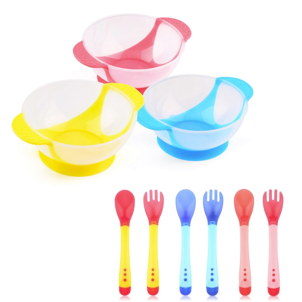 [해외]3 개/대 흡입 컵 지원 아기 학습 요리 음식 그릇 온도 감지 숟가락 식기 접시/3 개/대 흡입 컵 지원 아기 학습 요리 음식 그릇 온도 감지 숟가락 식기 접시