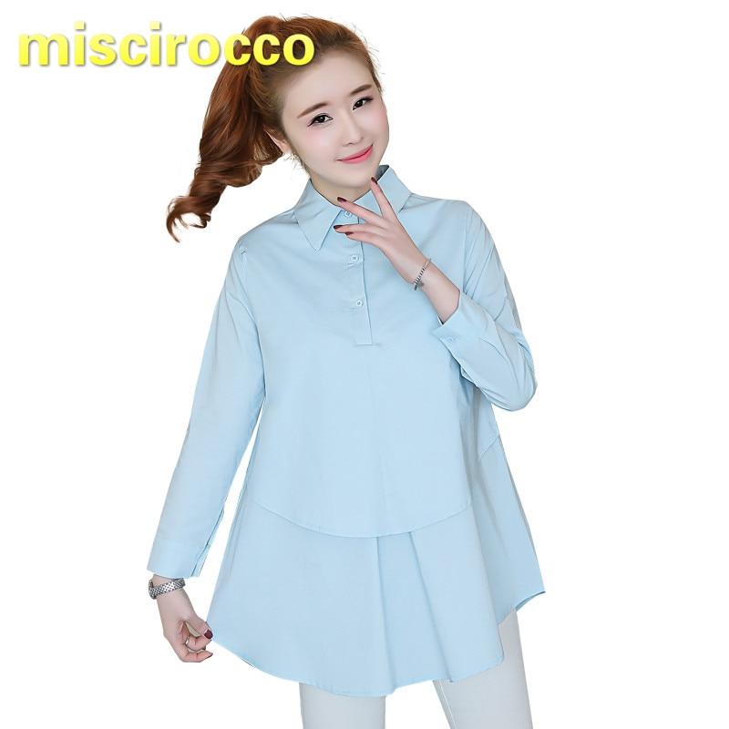 [해외]출산 셔츠 코튼 임산부 셔츠 긴 소매 사무복 여성 봄 탑 ol 여성 의류 출산 탑스