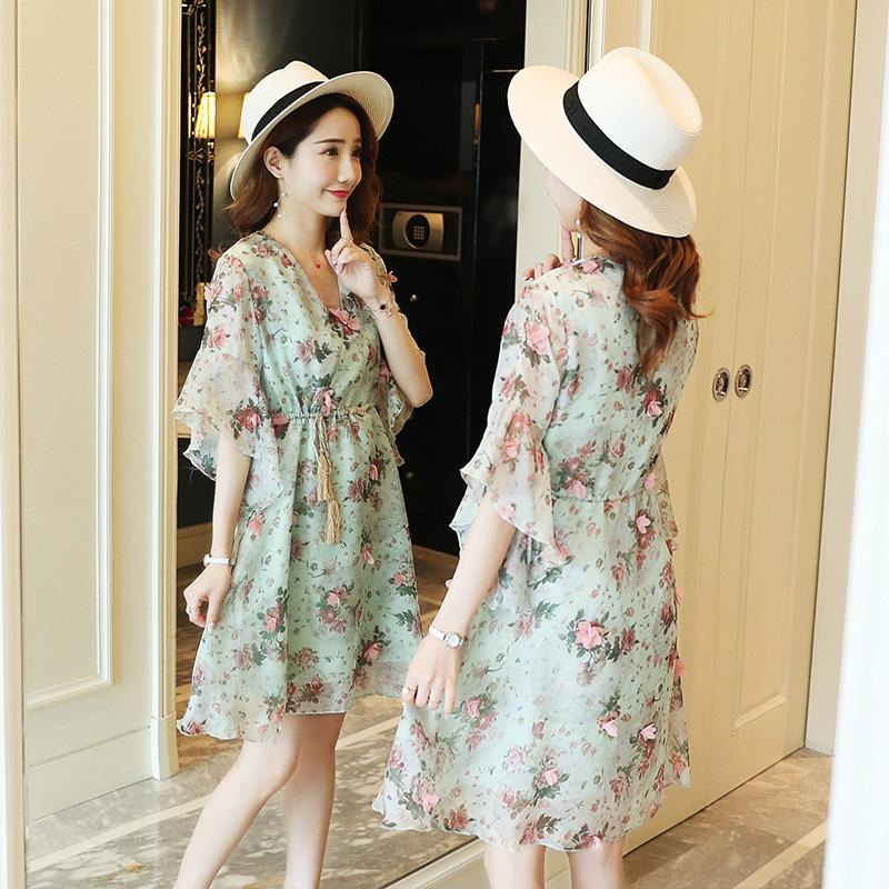 [해외]핑크/그린 새로운 출산 드레스 2019 여름 패션 임신 한 여자