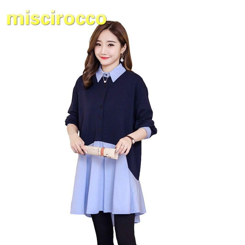 [해외]임신 한 여자 셔츠 긴 출산 clothings 봄 드레스 바느질 가짜 두 셔츠 큰 크기