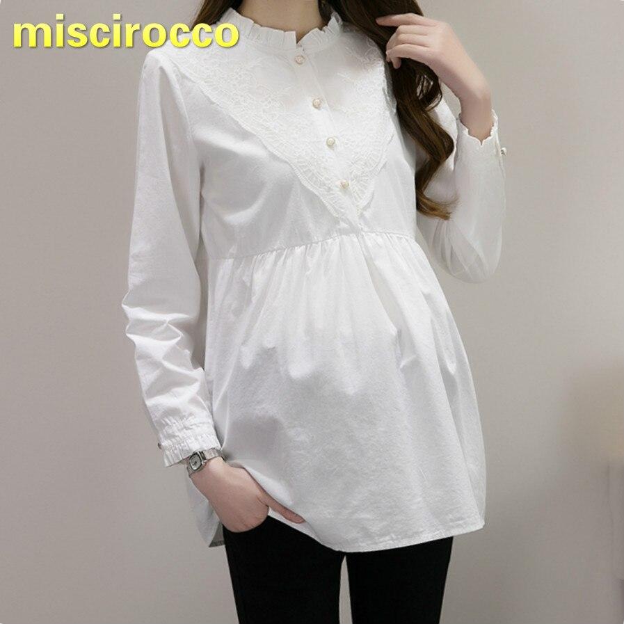 [해외]출산 옷 코튼 셔츠 레이스 버튼 임신 한 여성의 셔츠 긴 소매 여성 봄 가을 셔츠 여성 셔츠 여성상의