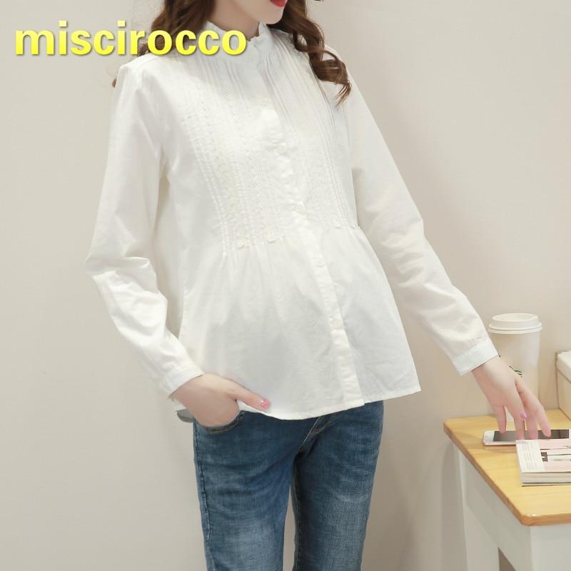 [해외]출산 셔츠 면화 긴 소매 셔츠 임신 한 여성 셔츠 간단한 기초 출산 옷 큰 크기 여성 의류 봄 가기