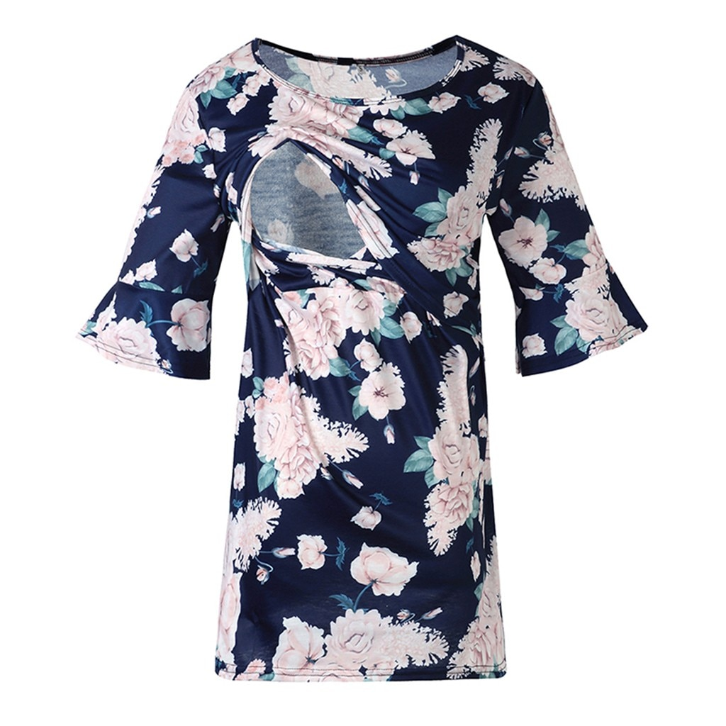 [해외]블라우스 여성 출산 플레어 슬리브 꽃 프린트 수유 용 간호 탑 셔츠 camisas maternidade 모유 수유 블라우스
