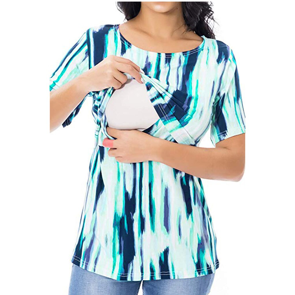 [해외]숙녀 임산부 모유 수유 프린트 반소매 블라우스 탑스 여름 셔츠 roupa de mulher bluzka ciazowa ropa mujer tops/숙녀 임산부 모유 수유 프린트 반소매 블라우스 탑스 여름 셔츠 roupa de mulher blu