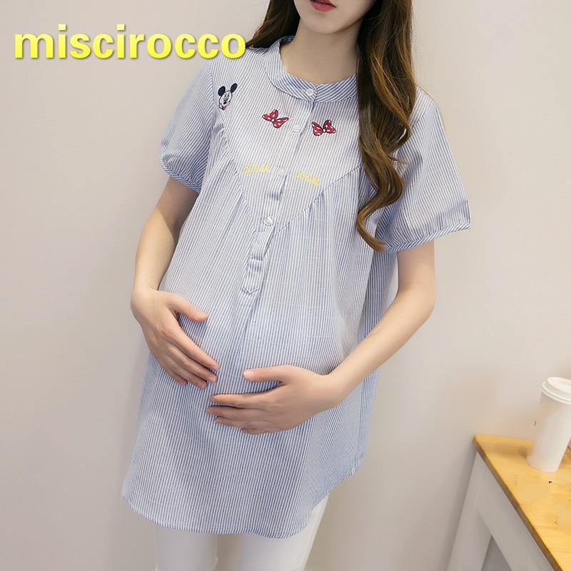 [해외]출산 의류 여름 셔츠 4xl 임산부 여름 짧은 소매 줄무늬 셔츠 플러스 사이즈 여성 의류 자수