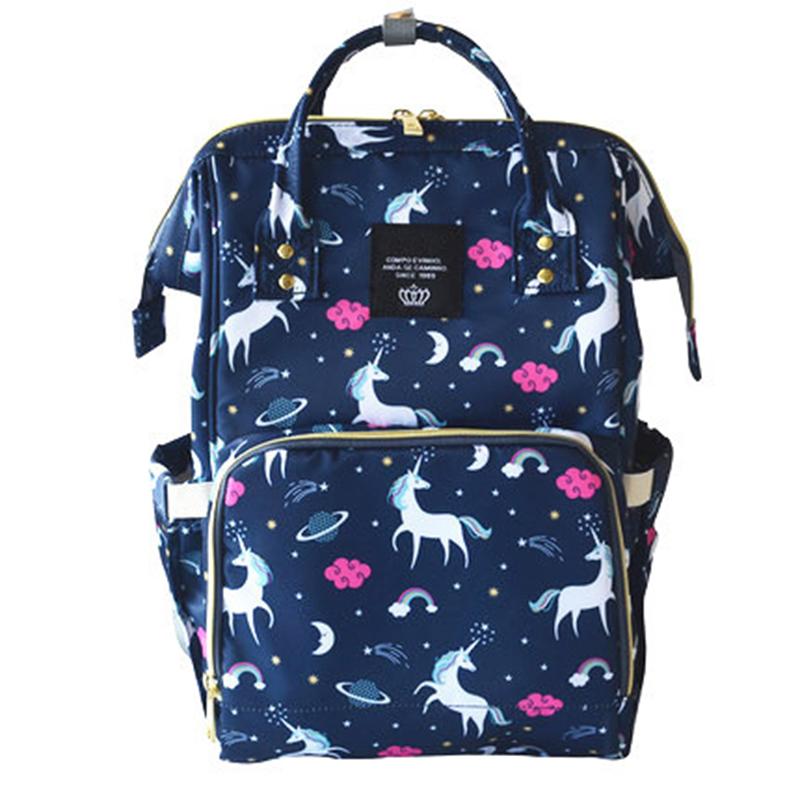 [해외]유니콘 인쇄 베이비 기저귀 가방 방수 어머니 출산 배낭 유니콘 기저귀 가방 대용량 기저귀 아기 가방 변경/Unicorn print baby care diaper bag waterproof mother maternity backpack unicorn nappy b