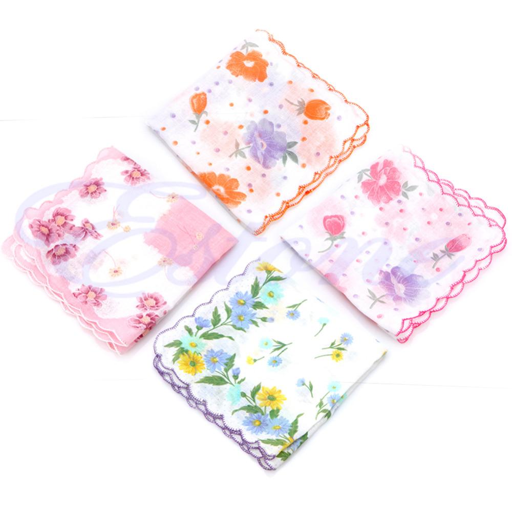 [해외]10Pcs / Set 꽃 손수건 100 % 코 튼 모든 연령에 적합 한 부드러운 디자인을했다/10Pcs/Set Floral Handkerchief 100% Cotton Made Soft Design Suitable for Any Age