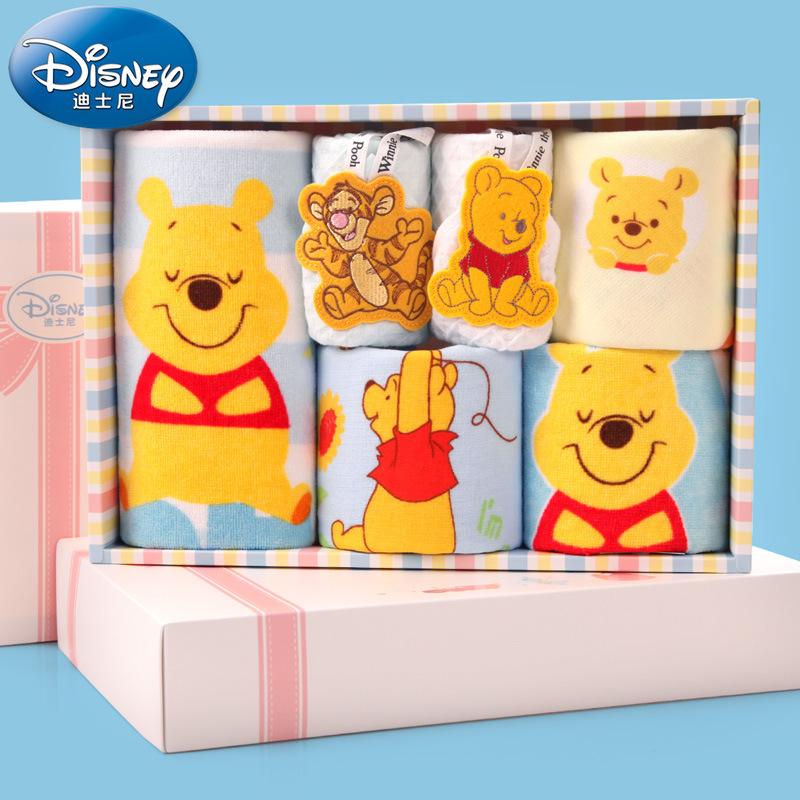 [해외]디즈니 위니 푸우 어린이 수건 6 개 / 세트 선물 상자면 타월 34.5 * 24 * 6cm 어린이 수건 거즈/Disney Winnie Pooh Children&s Towel 6 Pieces/Set Gift Box Cotton Towel 34.5*24*6cm C