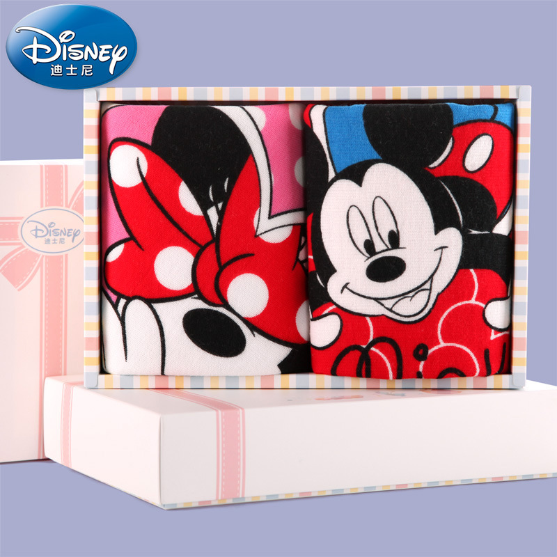 [해외]Disney Minnie Mickey Lovers 2 개 선물면 거즈 타올 타월/Disney Minnie Mickey Lovers 2 Piece Gift cotton gauze towel towel
