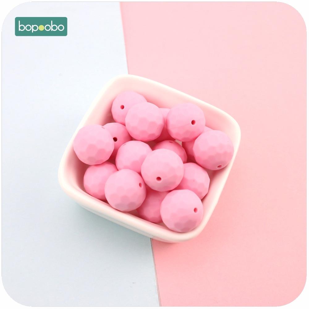 [해외]Bopoobo 실리콘 Teether 핑크 10pcs 15mm 멀티면 처리 된 비즈 DIY Teething 목걸이 만든 씹는 실리콘 구슬 아기 Teether/Bopoobo Silicone Teether Pink 10pcs 15mm Multi-faceted Bead