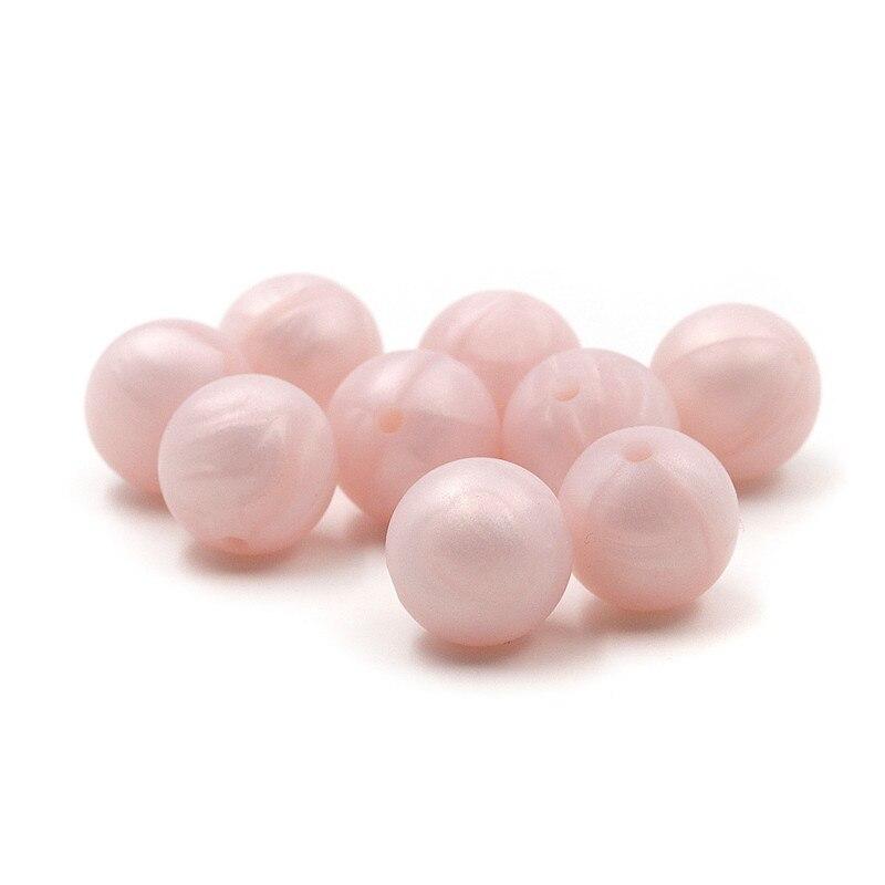 [해외]JOJOCHEW 100pcs 진주 빛 핑크 구슬 실리콘 젖니가 남은 라운드 BPA 무료 아기 씹는 구슬 젖 니가 남 먹는 목걸이 아기 선물 만들기/JOJOCHEW 100pcs Pearl Light Pink Beads Silicone Teething  Round