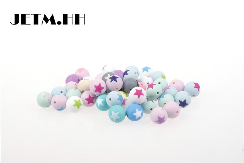 [해외]20pcs 할로우 라운드 스타 실리콘 비즈 아기 Teething 쥬얼리 만들기 Bpa 무료 유아 Teether 피팅 Diy 치아 간호 선물 장난감/20pcs Hollow Round Star Silicone Beads Baby Teething Jewelry Mak