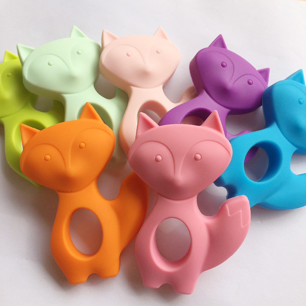[해외]실리콘 폭스 Teether 2pcs 부드러운 아기 젖니가 남색 목걸이 씹는 장난감 실리콘 비즈 아기 실리콘 쥬얼리/Silicone Fox Teether 2pcs Soft Baby Teething Penant Necklace Chew Toys Silicone Be
