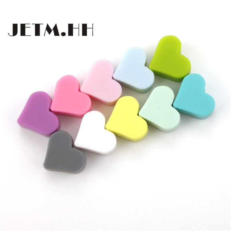 [해외]JETM.HH 100PC 심장 비즈 실리콘 Bpa Free15MM 치아 비즈 ChewsTeething 펜던트 디디 Pacifier 체인 Mordedor Silicona 들어/JETM.HH 100PC Heart Beads Silicone For Baby Bpa F