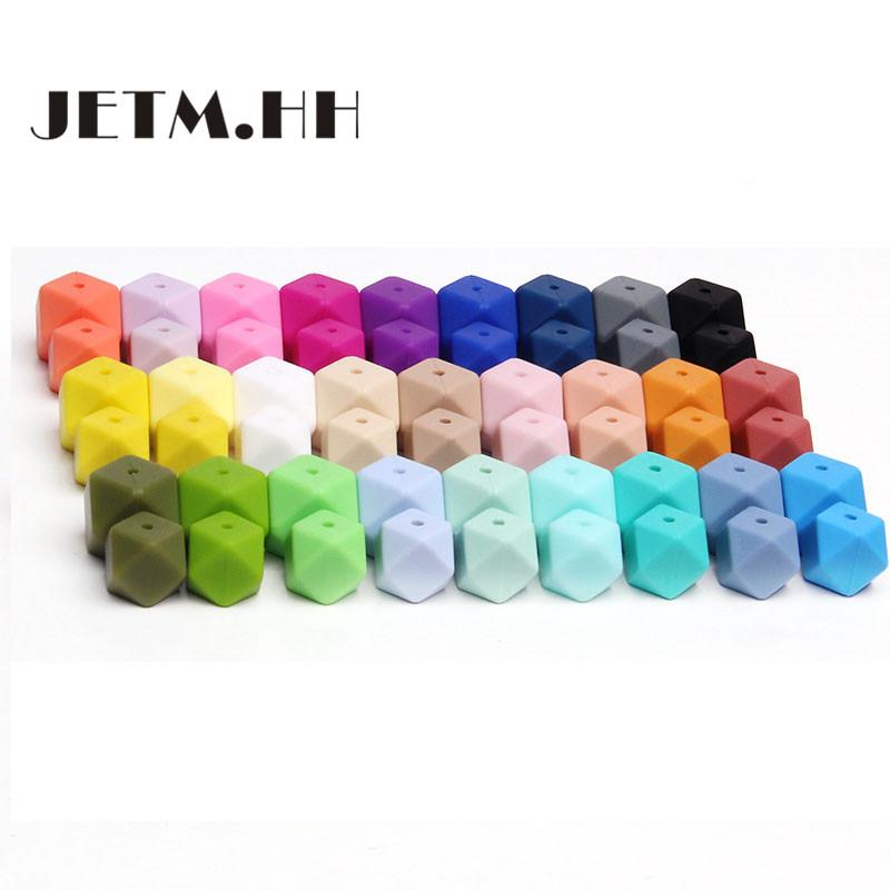 [해외]JETM.HH 50pc 헥사곤 실리콘 비즈 Teething 14mm 베이비 구슬 구슬 치아 목걸이 목걸이 구슬 Diy Chewable Silicona Denticion Jewelry/JETM.HH 50pc Hexagon Silicone Beads Teething