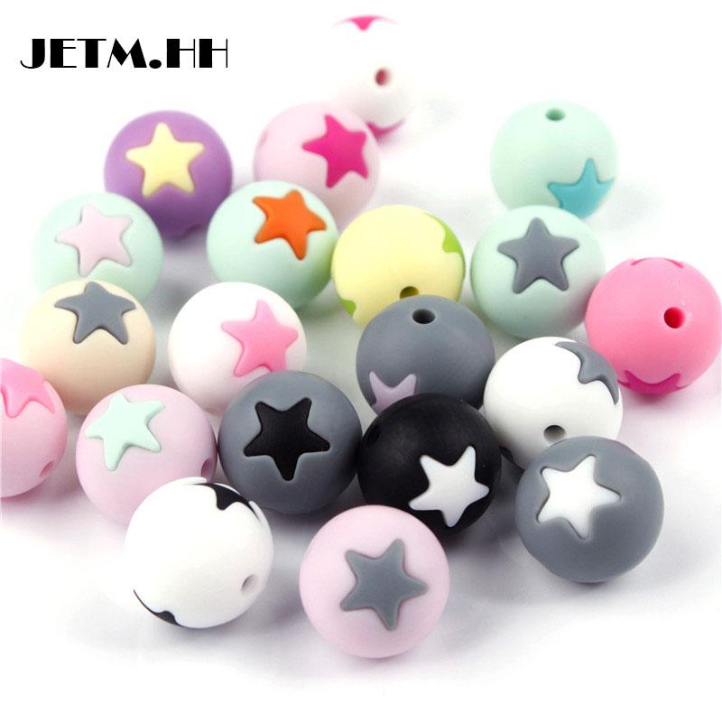 [해외]Jetm.hh 50pc 라운드 스타 실리콘 비즈 15MM Teething 씹는 볼 치아 클렌징 간호 실리콘 Teether 목걸이 장식 구슬 치아/Jetm.hh 50pc Round Star Silicone Beads 15MM Teething Chew Balls T