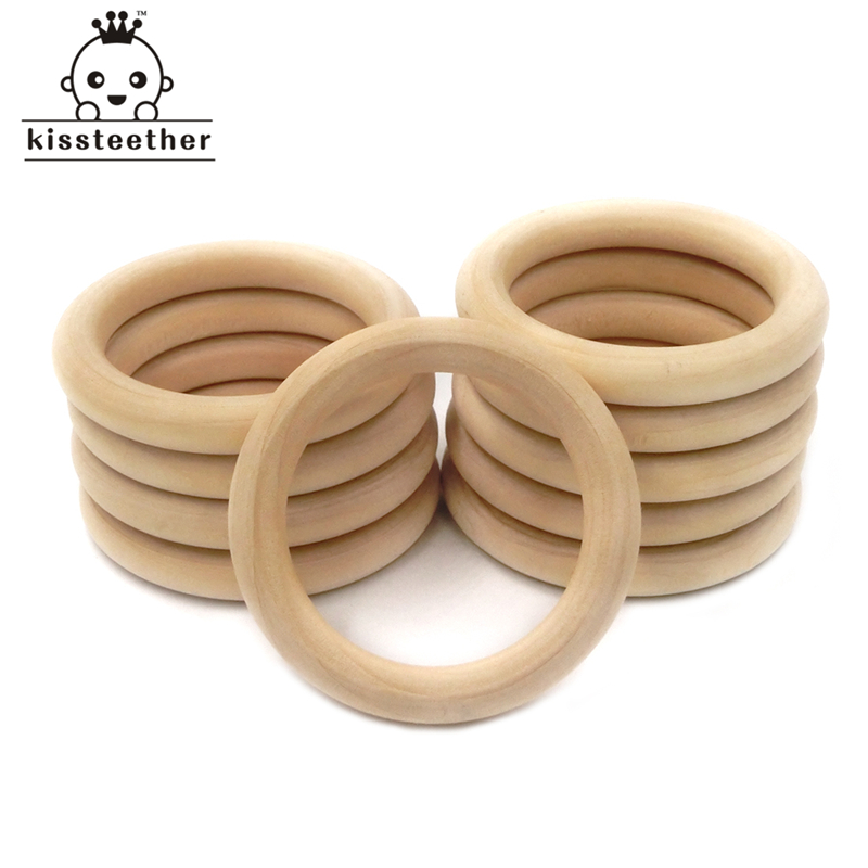 [해외]50mm (1.96 &&) 자연 나무 반지 Teether 몬테소리 아기 장난감 유기 유아 젖니가 남 장난감 액세서리 목걸이 DIY 아기 Teether/50mm(1.96&&) Nature Wooden Ring Teether Montessori Bab