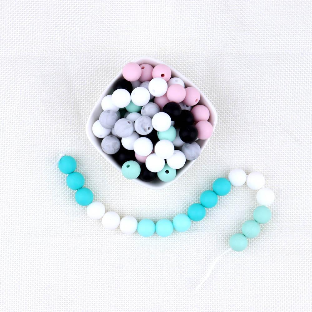 [해외]40pc / set 실리콘 Teething 비즈 아기 씹는 비즈 목걸이 Baby Teether 액세서리 bpa 무료 12mm 라운드/40pc/set Silicone Teething Beads Baby Chewing Beads For Necklace Baby Te