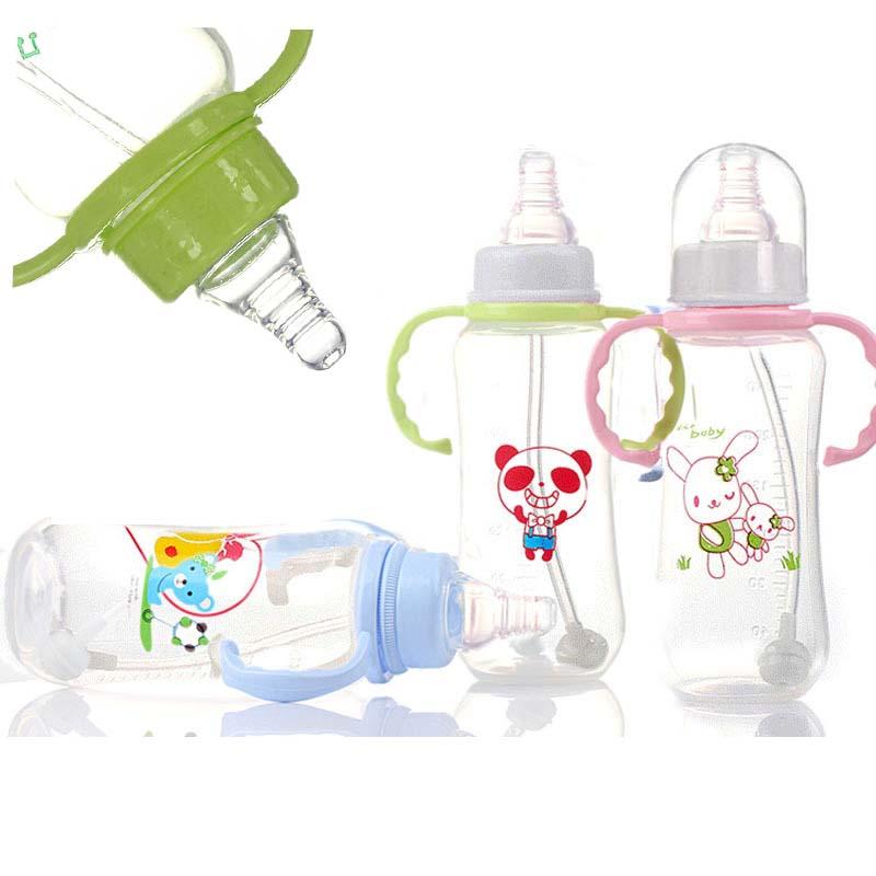 [해외]고품질 PP Fierbaby 귀여운 만화 표준 입으로 300ml 아기 자동 짚 아기 feedinghandhandle 또는 간호 병/High quality PP Fierbaby Cute Cartoon Standard Mouth 300ml Baby Auto-stra
