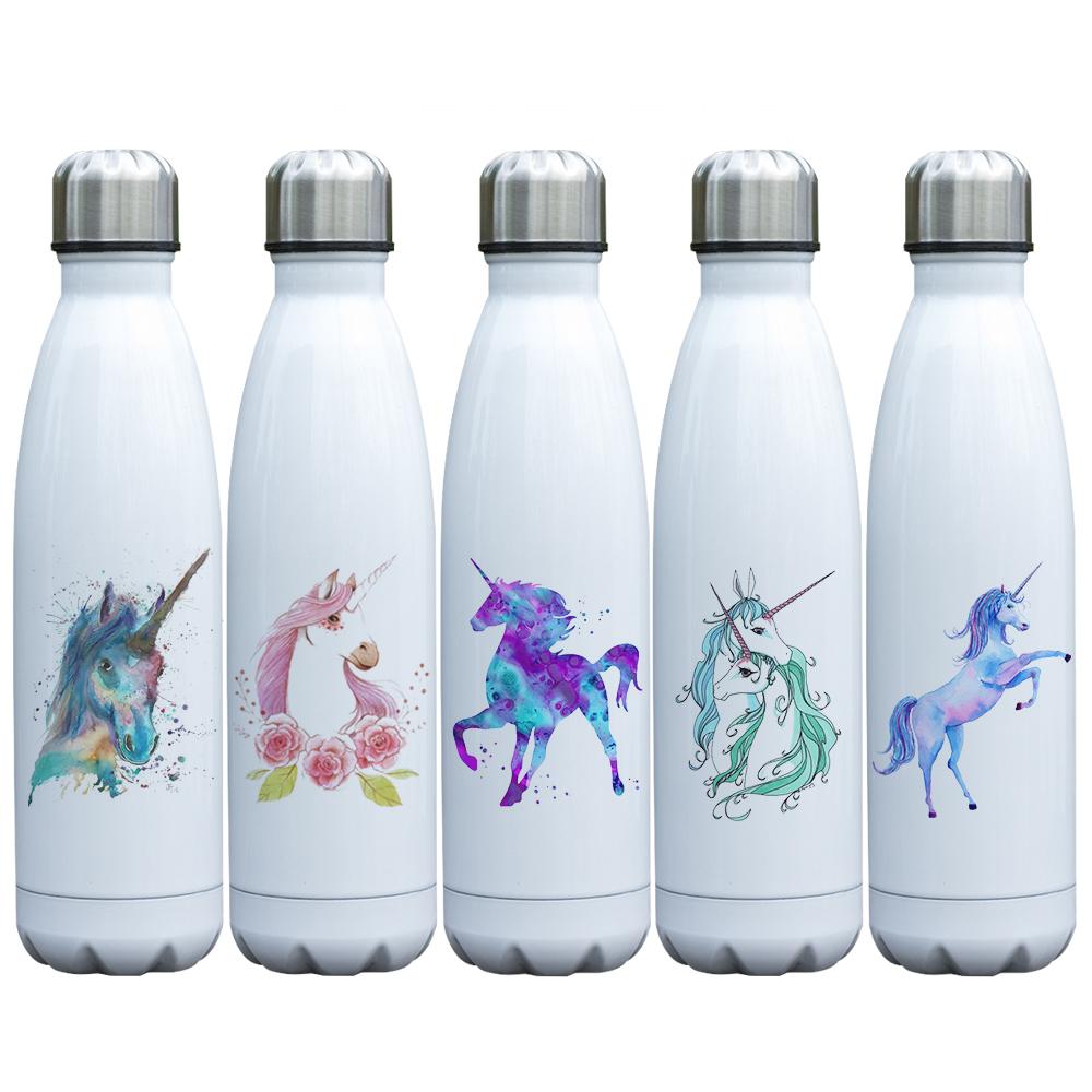 [해외]듀얼 벽 진공 스테인레스 스틸 병 17oz 절연 물병 누출 증거가 따뜻하고 차가운 음료를 유지합니다. Unicorn Thermos/Double Wall Vacuum Stainless Steel Bottle 17oz Insulated Water Bottle  Le