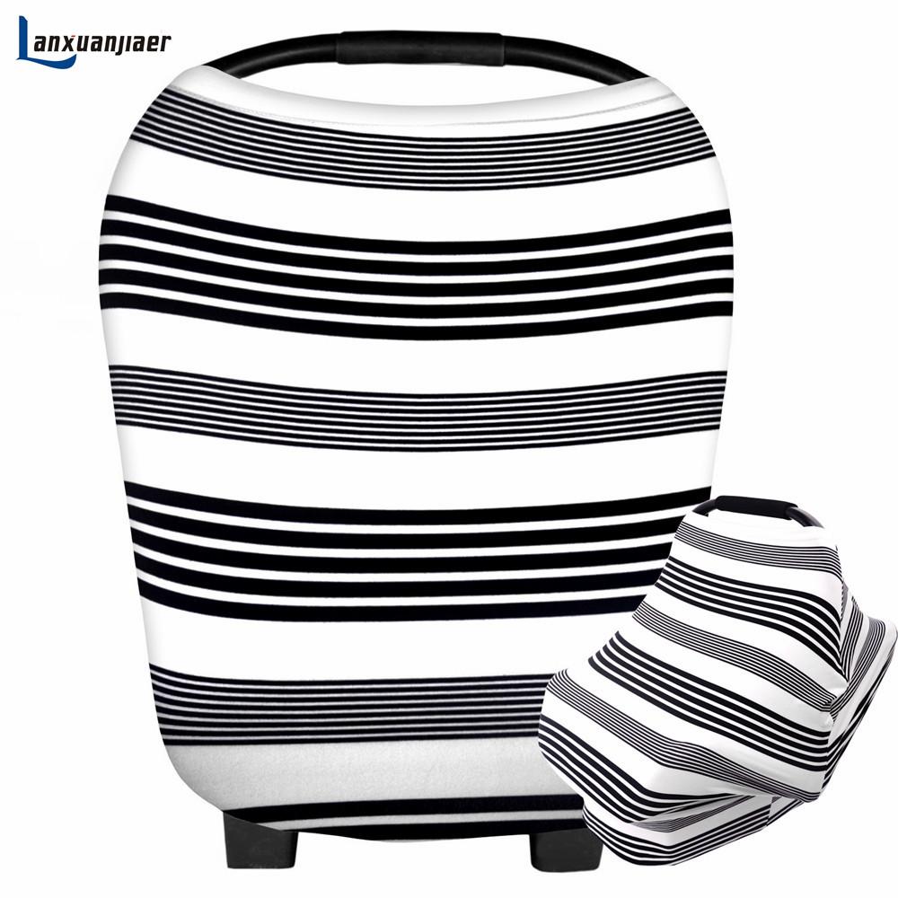 [해외]Lanxuanjiaer 간호 커버 신생아 자동차 시트 커버 유아 통기성 안전 베이비 멀티 사용 면화 스트라이프 모유 수유 커버 스카프/Lanxuanjiaer  Nursing Cover Newborn Car Seat Cover Infant Breathable Sa