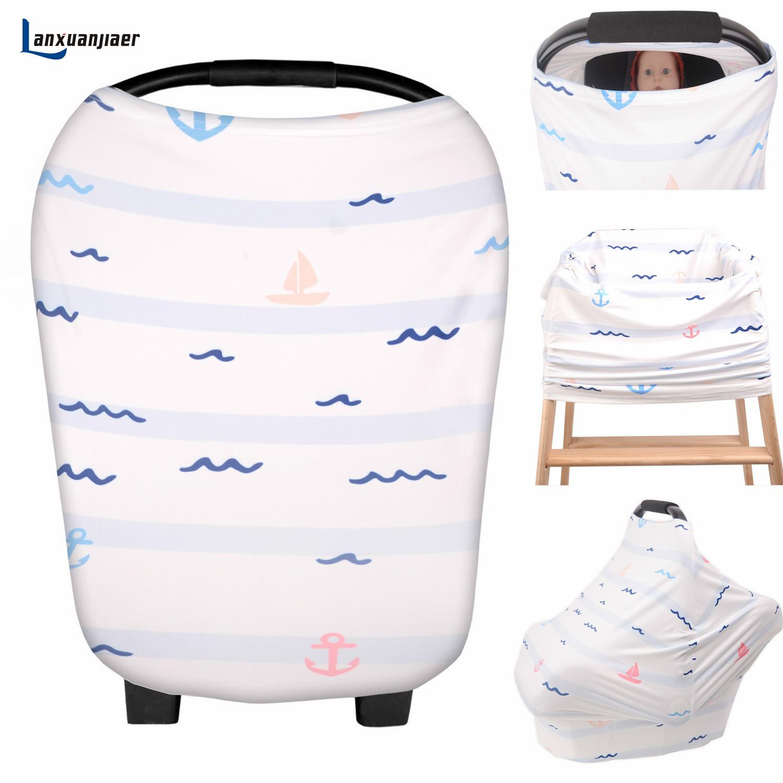 [해외]아기 카시트 커버 및 간호 커버 인쇄 바다 패턴 유아 Carseat hairchair 아기를캐노피 및 모유 수유 용 스카프/Baby Car Seat Cover and Nursing Cover printed ocean pattern  Infant Carseat h