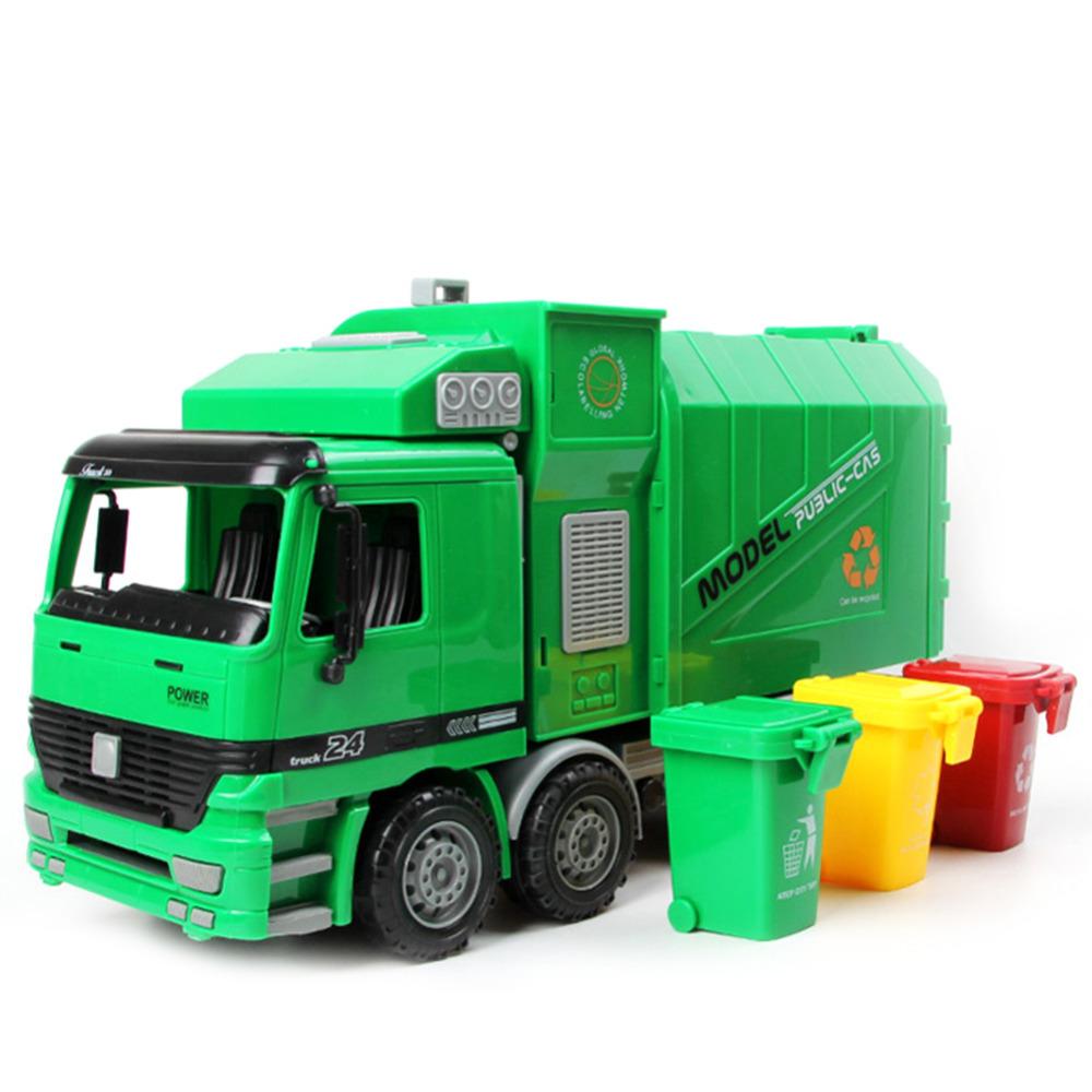 [해외]핫 세일 1pc 1시 22 분 대형 크기 시뮬레이션 관성 쓰레기 트럭 위생 자동차 장난감 아이 장난감/Hot sale 1pc 1:22 Large Size Children Simulation Inertia Garbage Truck Sanitation Car Toy
