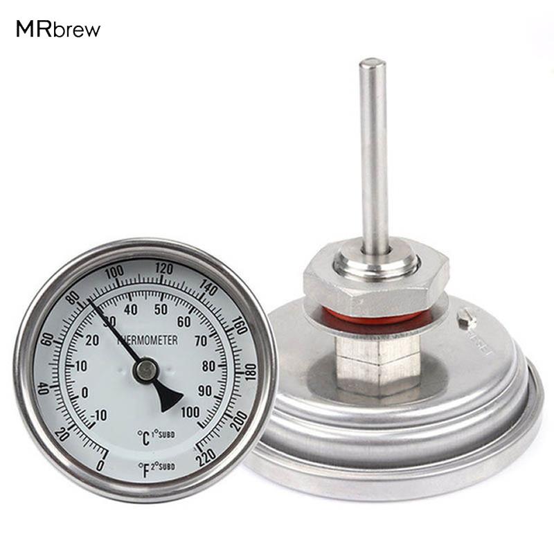 [해외]Weldless Bi-Metal 온도계 키트, 3 & Face & amp; 2 & 프로브, 1 / 2 & MNPT, 0220F 학위, 맥주 양조 온도계, 자작 나무 주전자/Weldless Bi-metal Thermometer Kit,