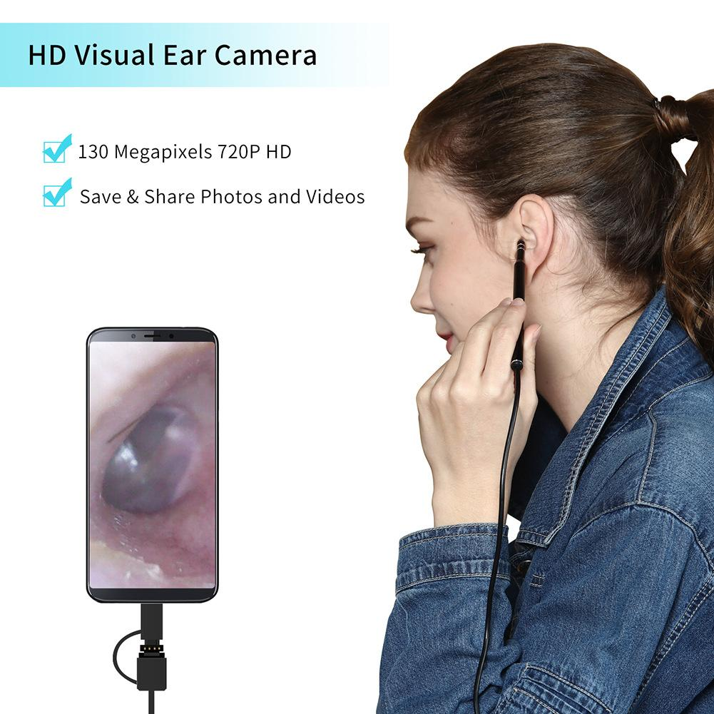 [해외]새로운 2m 3-in-1 USB & amp; ? ? ???? ?? & amp; 유형 C 귀 청소 내시경 HD 시각 귀마개 어린이를다기능 Earpick/New 2 m 3-in-1 USB & 안드로이드 & Type-C Ear Cleani