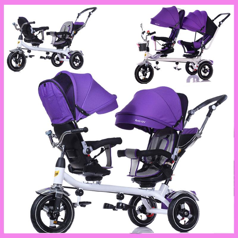 [해외]브랜드 어린이 세발 자전거 트윈스 아기 유모차 더블 세 바퀴 유모차 세발 자전거 자전거 역 회전 좌석 유모차 유모차/Brand Children Tricycle Twins Baby Stroller Double Three Wheel Stroller Tricycle