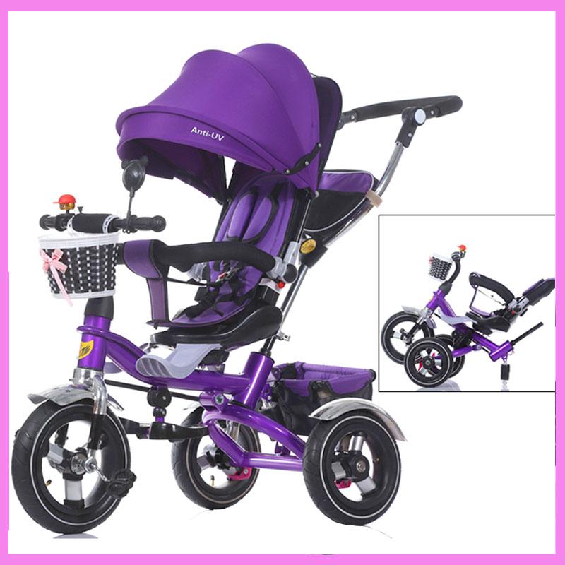 [해외]?회전 좌석 아기 세발 자전거 유모차 Abration 충격 탈착식 접이식 아기 어린이 세발 자전거 카트 자전거 자전거/ Rotating Seat Baby Tricycle Stroller Abration Shock Removable Folding Baby Chil