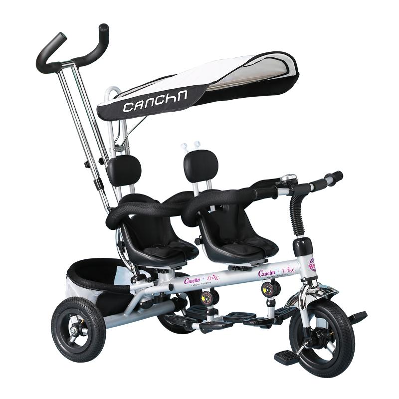 [해외]더블 어린이 세발 자전거 유럽의 럭셔리 쌍둥이 아기 캐리지 두 좌석 자전거 무료 풍선 티타늄 빈 아기 BB 트롤리/Double children tricycle European luxury twins baby carriage two-seat bike free in