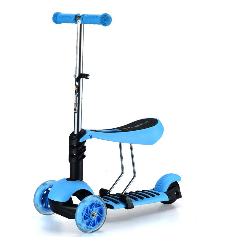 [해외]어린이 스쿠터 3-in-1 베이비 워커 비 슬립 PU 플래시 휠 서핑 자동차 3 륜 스쿠터/Children&s Scooter 3-in-1 Baby Walker Non-slip PU Flash Wheel Surf Car Three-wheel Scooters