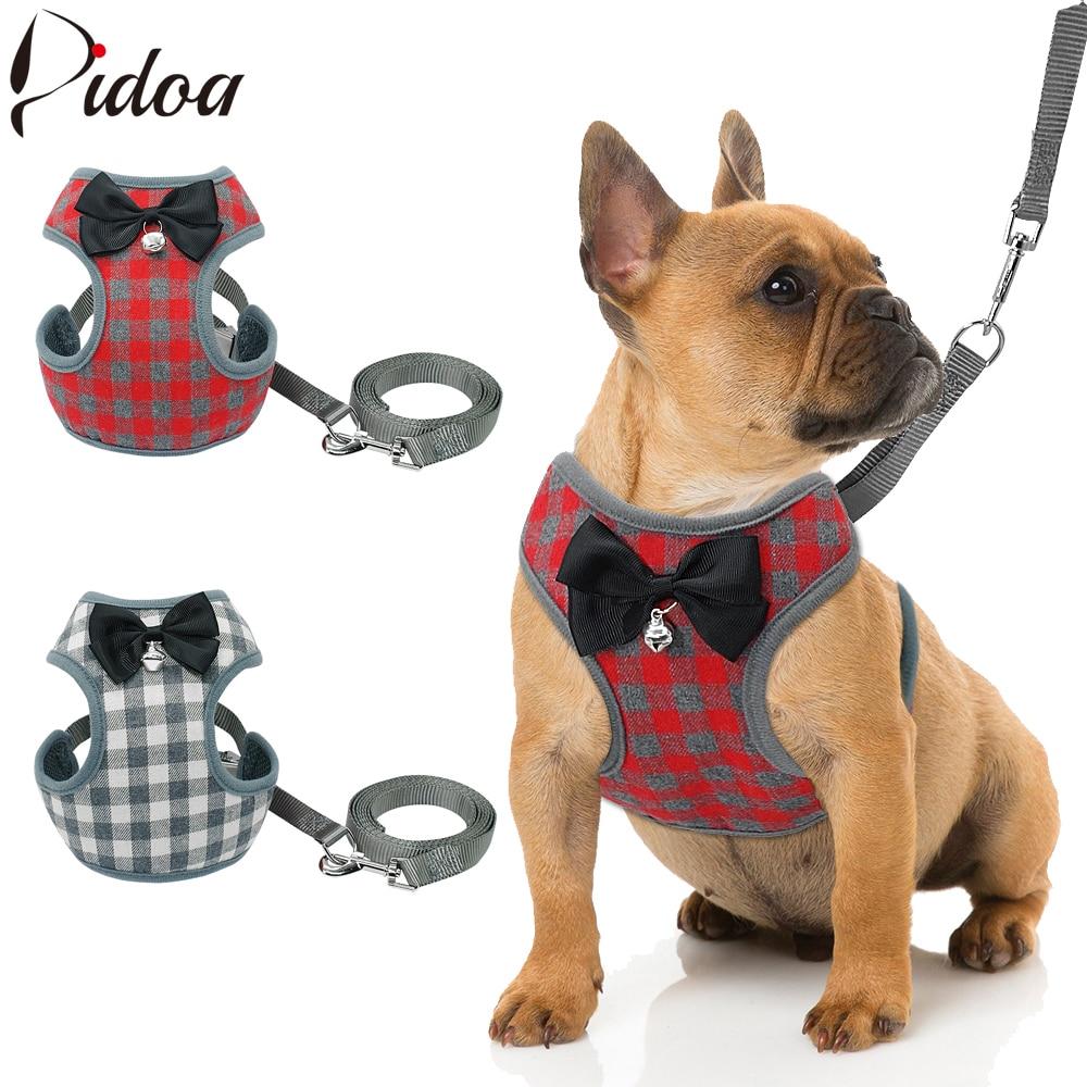 [해외]작은 강아지 하네스 및 가죽 끈 세트 작은 강아지 개를위한 bowknot 메쉬와 애완 동물 고양이 조끼 하네스 chihuahua yorkies pug