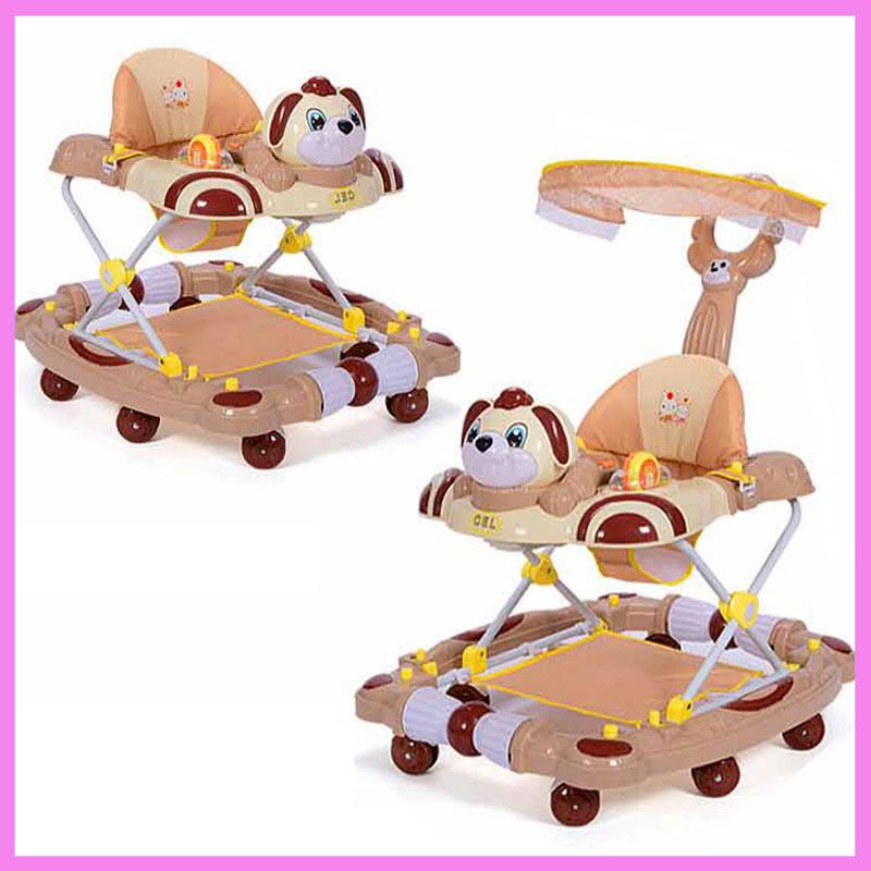 [해외]베이비 워커 8 휠 안티 롤오버 접기 StrollerMusic 5 단계 조정 학습 워커 락 호스 펌프/Baby Walker8 Wheels Anti Rollover Folding StrollerMusic Five Levels Adjustment Learning W